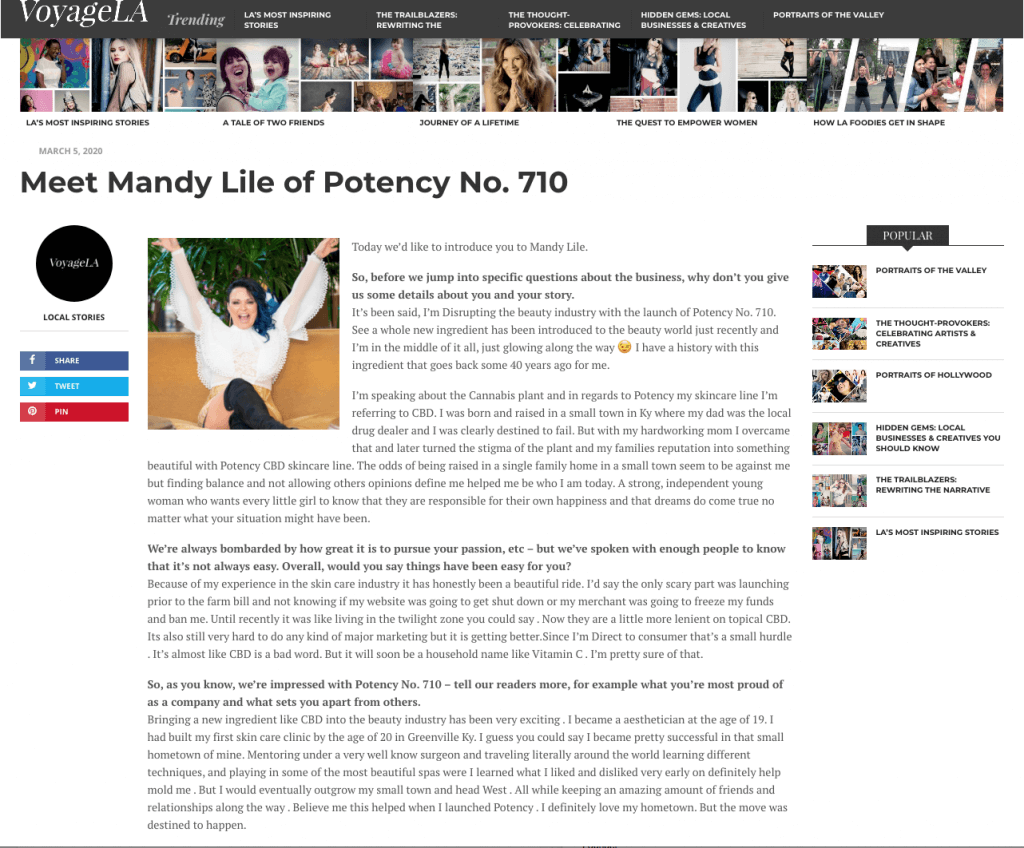 Voyage LA - Meet Mandy Lile of Potency No. 710